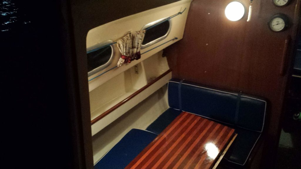 The finished dinette area of our Bristol 26 sailboat after replacing the chainplate knee and shelf.